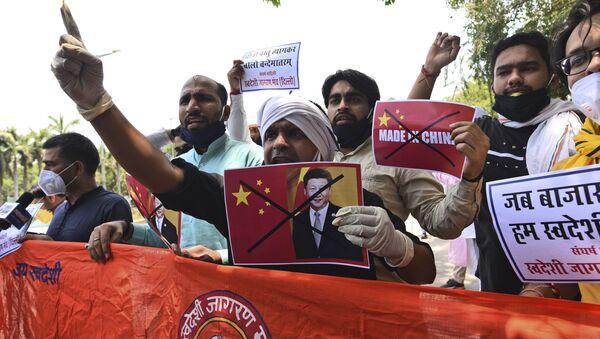Protest proti Číně v Novém Dillí. 17. červen. 2020 - Sputnik Česká republika