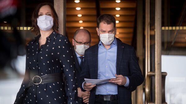 Veronika Remišová, Richar Sulík a Igor Matovič při vyhlášení nového složení vlády Slovenska - Sputnik Česká republika