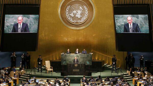 Projev Vladimira Putina v OSN - Sputnik Česká republika
