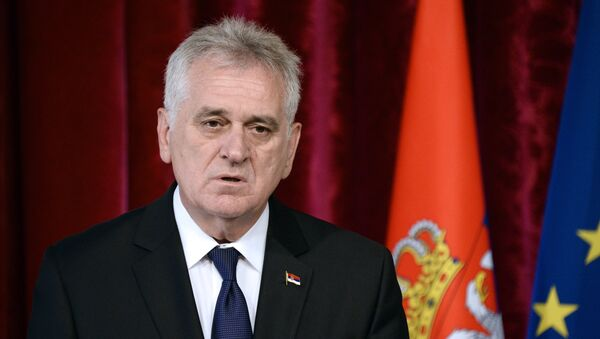 Serbian President Tomislav Nikolic gives a press conference after a meeting with French President Francois Hollande at the Elysee palace in Paris on May 22, 2014. - Sputnik Česká republika