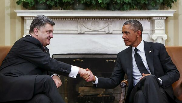 Petro Porošenko a Barack Obama - Sputnik Česká republika