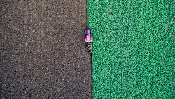 Farmář v traktoru na poli v Německu. - Sputnik Česká republika
