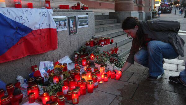 Akce paměti zahynulých hokejistů týmu Lokomotiv Jaroslavl při letecké havárii - Sputnik Česká republika