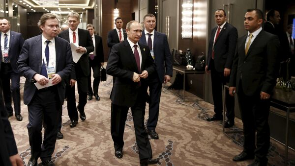 Vladimir Putin na summitu G20 v Turecku - Sputnik Česká republika