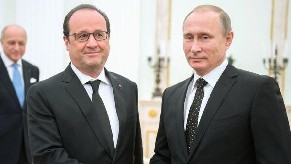 Schůzka Vladimira Putina s Francoisem Hollandem v Kremlu - Sputnik Česká republika
