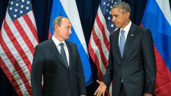 Prezident Ruska Vladimir Putin a prezident USA Barack Obama během schůzky v rámci sedmdesátého zasedání Valného shromáždění OSN - Sputnik Česká republika