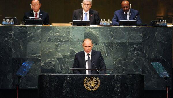 Vladimir Putin během Valného shromáždění OSN - Sputnik Česká republika