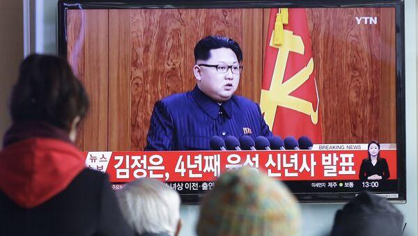 Předák KLDR Kim Čong-un vystoupil v pátek s 29minutovým novoročním poselstvím k lidu. - Sputnik Česká republika