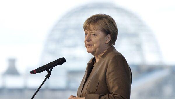 German Chancellor Angela Merkel makes a statement at the Chancellery in Berlin, Germany November 18, 2015 - Sputnik Česká republika