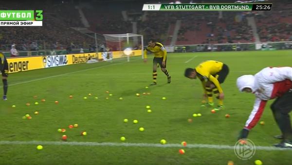 Fanoušci dortmundské Borussie naházeli na hřiště tenisové míče - Sputnik Česká republika