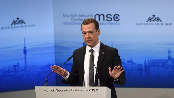 Ruský premiér Dmitrij Medveděv na Mnichovské bezpečnostní konferenci - Sputnik Česká republika