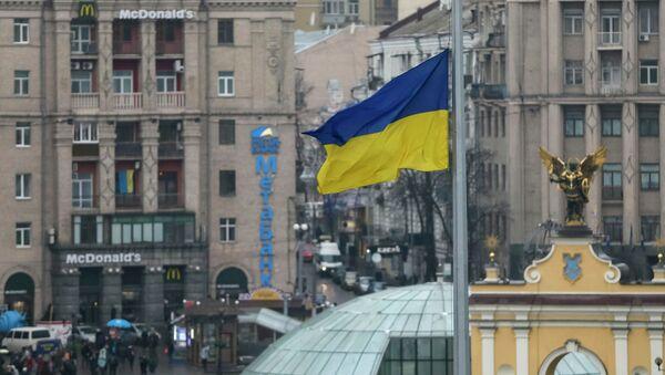 Ukrajinská vlajka v Kyjevě - Sputnik Česká republika