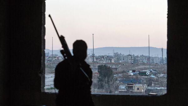 Syrský voják se dívá na okres, který kontroluje an-Nusrá - Sputnik Česká republika