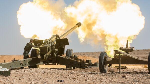 Dělostřelci Syrské arabské armády vedou boj proti oddílům teroristů v okolí města Mheen - Sputnik Česká republika