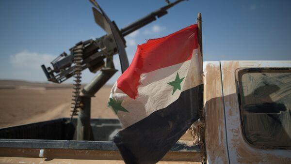 Syrská vlajka a kulomet - Sputnik Česká republika