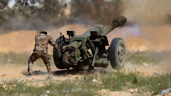 Voják syrské armády střílí z houfnice D-30 po pozicích bojovníků v okolí Palmýry v Sýrii - Sputnik Česká republika
