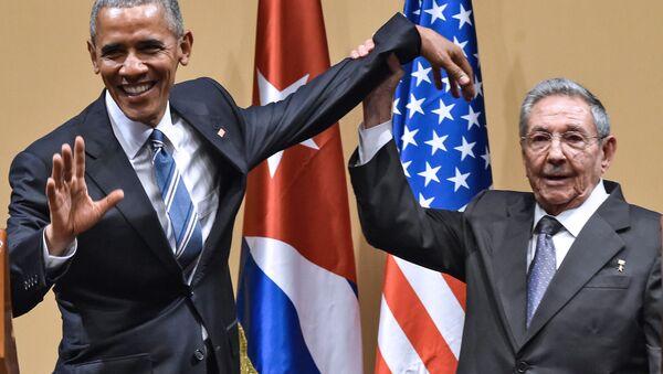 Prezident USA Barack Obama a kubánský prezident Raúl Castro v Havaně - Sputnik Česká republika