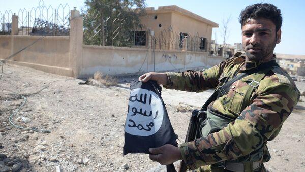 Voják syrské armády drží vlajku Daiš - Sputnik Česká republika