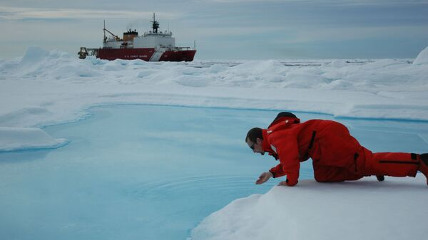 Vědec odebírá kontrolní vzorek vody v Arktidě - Sputnik Česká republika