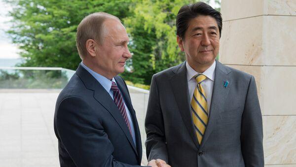 Schůzka ruského prezidenta Vladimira Putina s japonským premiérem Šinzó Abem v Soči, 6. května 2016 - Sputnik Česká republika