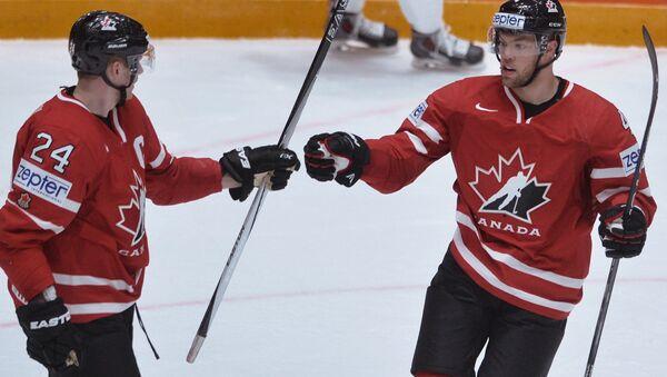 Hráči kanadské reprezentace během utkání  Maďarsko - Kanada na MS 2016 - Sputnik Česká republika