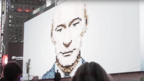 Putin mrkl na Newyorčany z obrazovky na Times Square a zmizel - Sputnik Česká republika