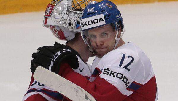 Игроки сборной Чехии по хоккею после поражения от сборной США - Sputnik Česká republika