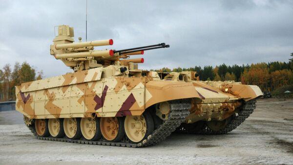 Bitevní stroj podpory tanků Terminátor-2 na výstavě - Sputnik Česká republika