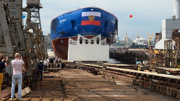 Ceremonie spuštění na vodu atomového ledoborce Arktika v Petrohradě - Sputnik Česká republika