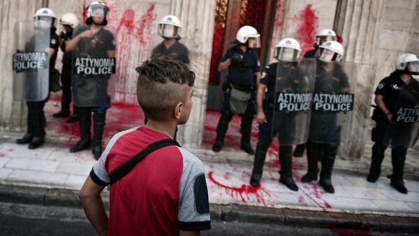 Demonstrace na podporu migrantů v Aténách - Sputnik Česká republika