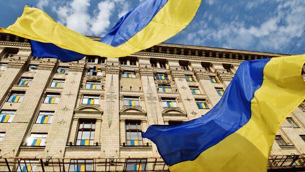 Ukrajinské vlajky v Kyjevě - Sputnik Česká republika