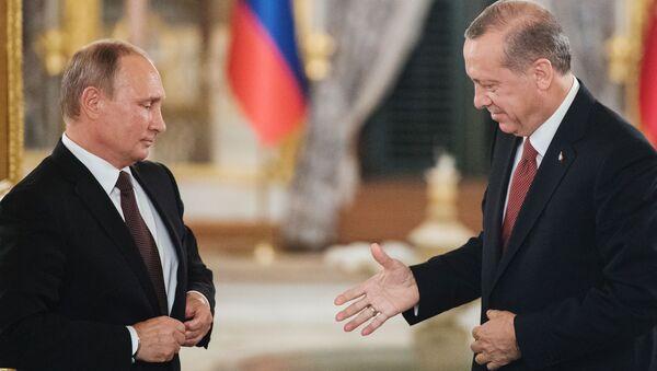 Prezident RF Vladimir Putin a prezident Turecka Recep Tayyip Erdoğan - Sputnik Česká republika