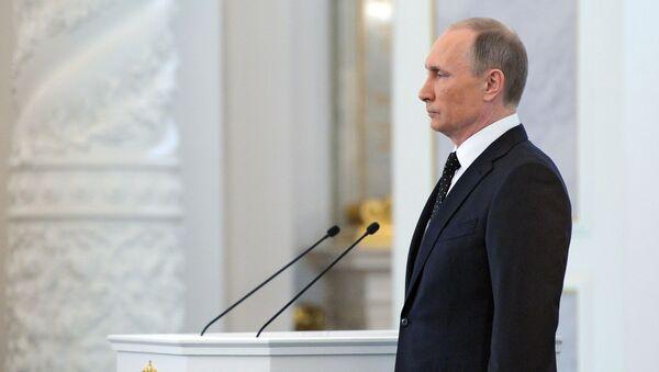 Ruský prezident Vladimir Putin během poselství Federálnímu shromáždění - Sputnik Česká republika