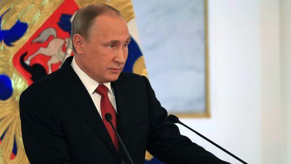December 1, 2016. Russian President Vladimir Putin delivers his Annual Presidential Address to the Federal Assembly at the Kremlin's St. George Hall. - Sputnik Česká republika