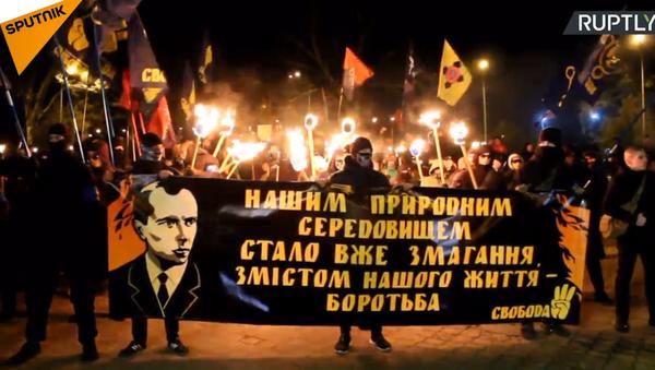 Průvod ukrajinských nacionalistů v Oděse - Sputnik Česká republika