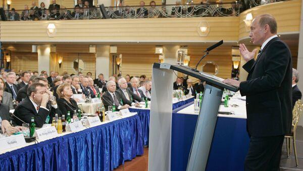 Projev Vladimira Putina na Mnichovské konferenci v roce 2007 - Sputnik Česká republika