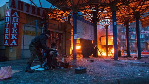 Následky ostřelování v Doněcku - Sputnik Česká republika