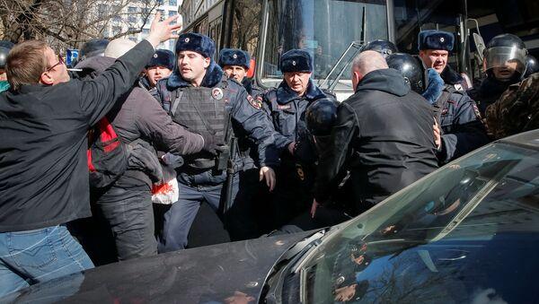Nepovolená protestní akce v centru Moskvy - Sputnik Česká republika