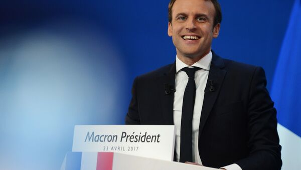 Francouzský prezidentský kandidát a lídr hnutí Vpřed Emmanuel Macron - Sputnik Česká republika