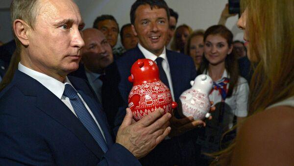 Vladimir Putin na EXPO 2015 v Itálii - Sputnik Česká republika