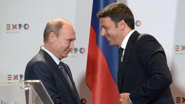 Vladimir Putin a Matteo Renzi - Sputnik Česká republika