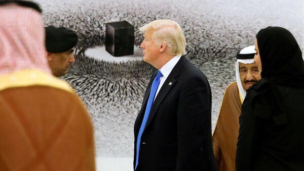 Americký prezident Donald Trump a král Saúdské Arábie Salman bin Abdel Aziz Al Saud během prohlídky sbírky obrazů v královském paláci v Rijádu - Sputnik Česká republika