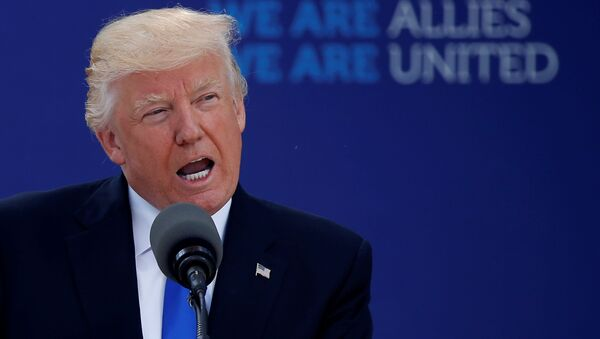 U.S. President Donald Trump delivers remarks at the start of the NATO summit at their new headquarters in Brussels, Belgium - Sputnik Česká republika