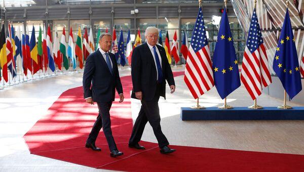 Americký prezident Donald Trump a Donald Tusk - Sputnik Česká republika