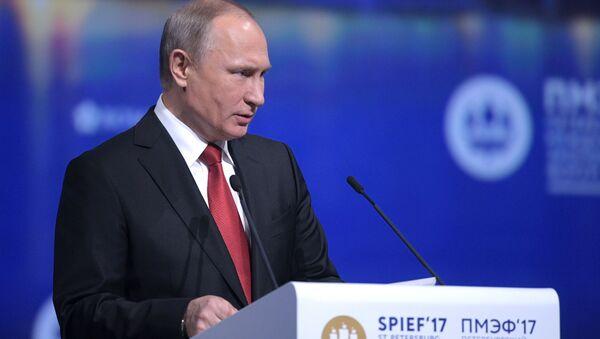 Putin vystupuje v rámci Petrohradského ekonomického fóra - Sputnik Česká republika