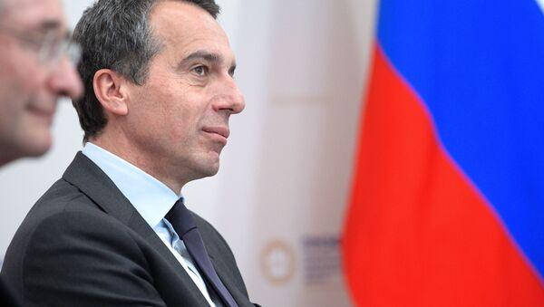 Rakouský kancléř Christian Kern během setkání s ruským prezidentem Vladimirem Putinem - Sputnik Česká republika