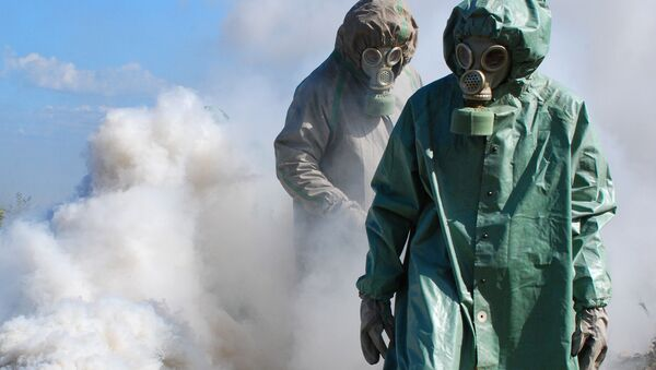 Cvičení proti možným následkům chemického útoku. Ilustrační foto - Sputnik Česká republika