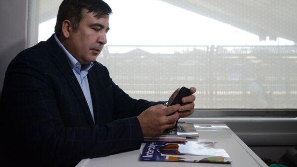 Michail Saakašvili ve vlaku směřujícím na Ukrajinu - Sputnik Česká republika