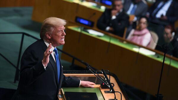 Trump během vystoupení na VS OSN - Sputnik Česká republika