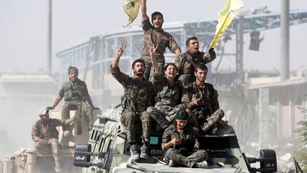 Vojáci Syrských demokratických sil slaví vítězství nad frontou DAIŠ zakázanou v Rusku, syrská Rakka - Sputnik Česká republika